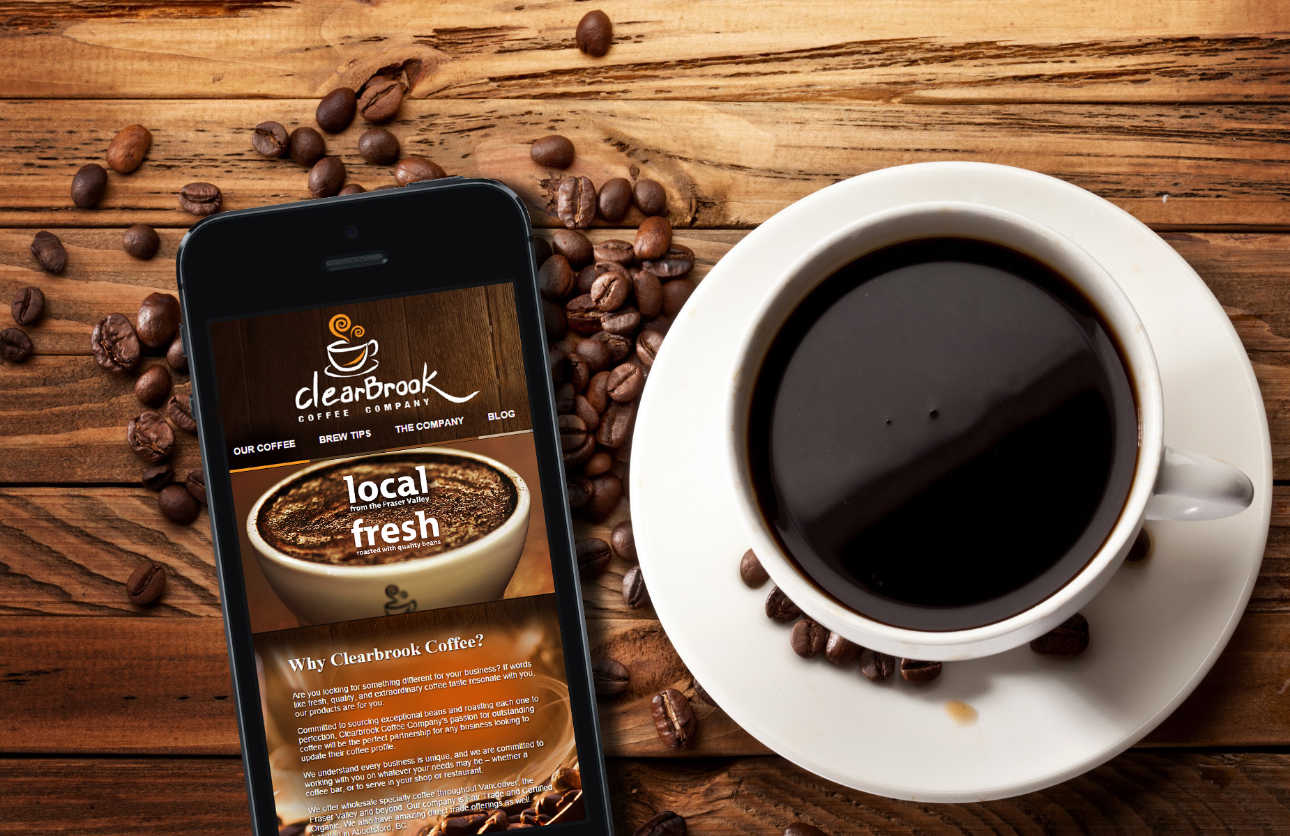 Clearbrook Coffee Abbotsford website design